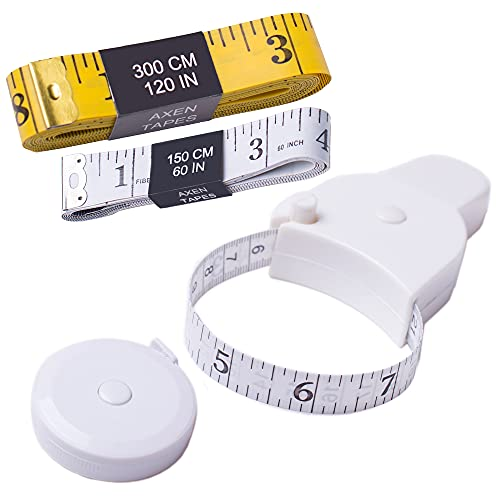 TACVEL 4 Pack Tapes Measure Set, Including 2 x Soft Tapes Measure, 1x White Retractable, 1 x Lock Pin and Push Button Measuring Tape, for Sewing, Body, Tailor
