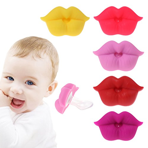 BKID Baby Silicone Pacifier Soother Funny Lips Nipple Pacifier for Baby/Infant/Newborn/Toddler (Red)