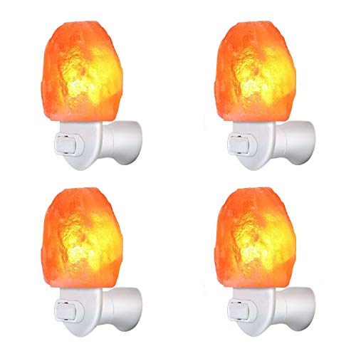 (4 Pack Himalayan Salt Rock Night Light Pink Salt Lamp, Hand Craved Natural Salt Rock, UL Certified Wall Plug E12 Base, Amber White Light for Ambiance Lighting, Decoration, Yoga, Air Purifying)