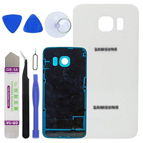 LUVSS New Back Glass Replacement for [Samsung Galaxy S6 Edge] G925 (All Carriers) Rear Cover Glass Panel Case Door Housing with Adhesive Preinstalled Repair Part (White)