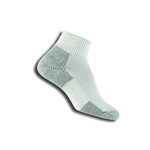 Thorlos Mens Running Thick Padded Ankle - Low Cut Socks JMX, White/Platinum, Medium (Shoe Size 5.5-8.5)