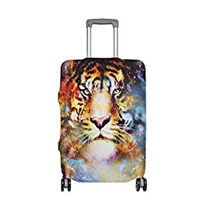 Mydaily Space Tiger Galaxy Luggage Cover Fits 18-21 Inch Suitcase Spandex Travel Protector S