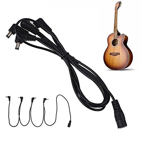 Electric Guitar Effect Pedal Daisy Chain Power Supply Cable 9V DC 1A Multi-interface Connecting 1 to 6 Cable Splitter Cord Right Angle Round Jacks 1 to 6 way
