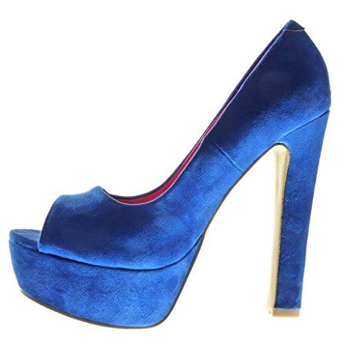 Angkorly - Chaussure Mode Escarpin stiletto plateforme Decolleté femme Talon haut bloc 13.5 CM - Bleu