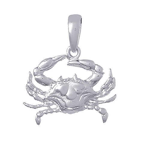 (925 Sterling Silver Nautical Charm Pendant, Blue Crab 2D )