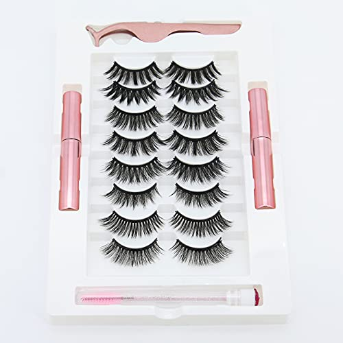 HANWENER Magnetic Eyelashes with Eyeliner Kit, 3D different Lengths 8 Pairs Different Reusable Magnetic Lashes with 2 Tubes Magnetic Eyeliner and Tweezer, False Eyelashes Natural Look No Glue Needed…