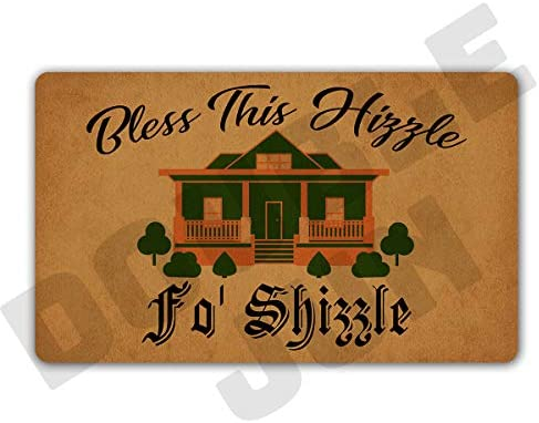 DoubleJun Funny Bless This Hizzle Fo Shizzle Entrance Mat Floor Rug Indoor Front Door Mats Home Decor Machine Washable Rubber Non Slip Backing 29.5 W X 17.7 L