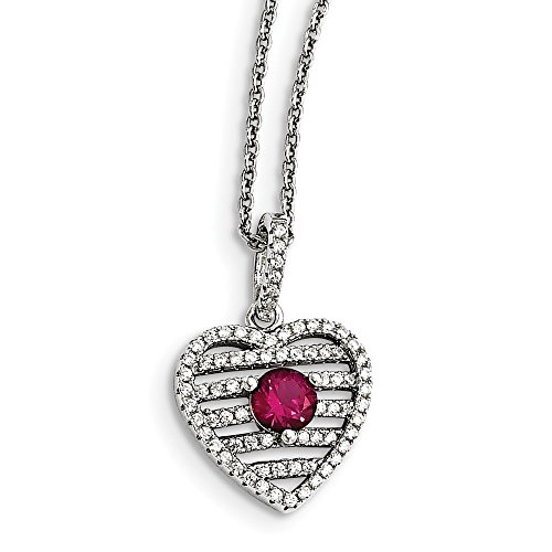 925 Sterling Silver Synthetic Red Ruby Cubic Zirconia Cz Heart Chain Necklace Pendant Charm S/love Fine Jewelry Gifts For Women For Her