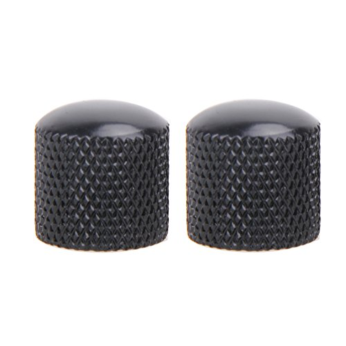 Jocestyle 4pcs Electric Bass Guitar Metal Volume Tone Control Knobs Dome Knobs with Hole (Black) ()