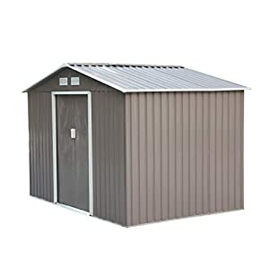 Outsunny 9x6 Metal Shed with Floor Grey