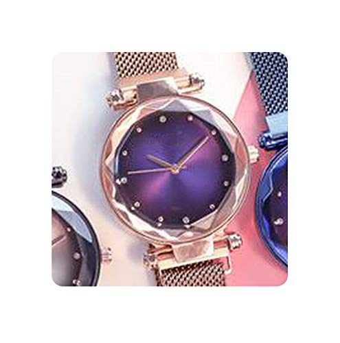 (Magnetic Force Creative Band Women Quartz Watches Ladies Wristwatches Watch No Box&Bracelet,Rose Gold)