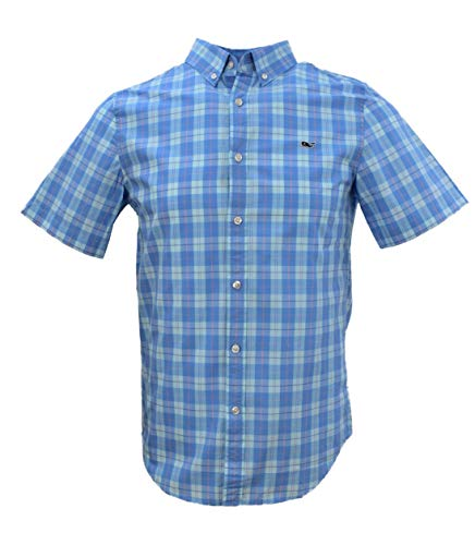 Vineyard Vines Men's Slim Fit Short-Sleeved Button Down Shirt (XX-Large, Jack Point Plaid/Harbor Clay)