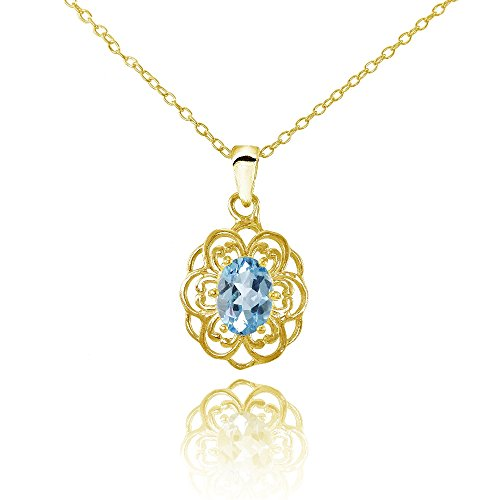Necklace Gold Ice (Ice Gems Yellow Gold Flashed Sterling Silver Blue Topaz Oval Filigree Flower Necklace)