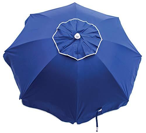 RIO Beach 6-foot UPF 50+ Beach Umbrella with Built-In Sand Anchor, Blue
