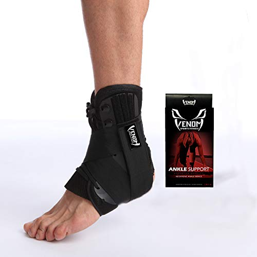 Venom Neoprene Ankle Brace Lace Up Support - Adjustable Stabilizers & Elastic Compression for Sprained Foot, Tendonitis, Basketball, Volleyball, Soccer, MMA, Athletics, Running, Sports, Men, Women (M)