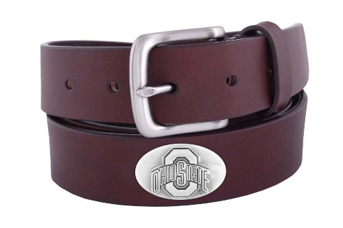NCAA Ohio State Buckeyes Brown Leather Concho Belt, 38 - State Brown Leather