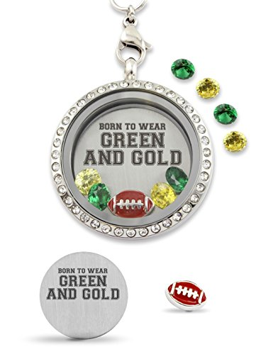 Born to Wear Green and Gold Pro Football Floating Charm Living Memory Locket Magnetic Closure 30mm Stainless Steel Pendant Necklace