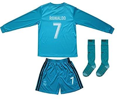 2017/2018 Real Madrid RONALDO #7 Away BLUE Long Sleeve Soccer Kids Jersey & Short Set Youth Sizes