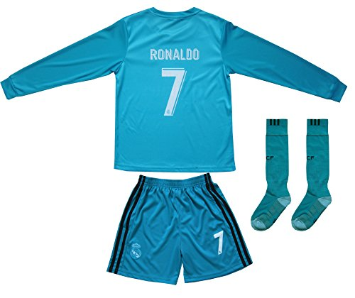 4a9462df5 GamesDur 2017 2018 Real Madrid RONALDO  7 Away BLUE Long Sleeve Soccer Kids  Jersey   Short Set Youth Sizes