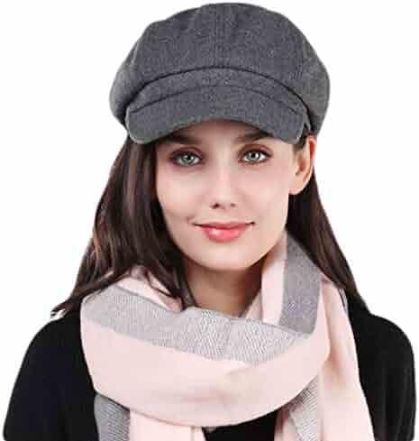 b53985124ee49 Taylormia Womens Fall Winter Classic Newsboy Cabbie Beret Hat Soft Warm  Wool Octagonal Cap