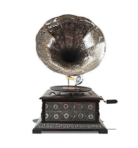 Horn Antique Design - Antique Replica Dark Wood Hand Made Phonograph Decorational Gramophone with Large Brass Horn Flowers Design Vintage Retro Style Turntable