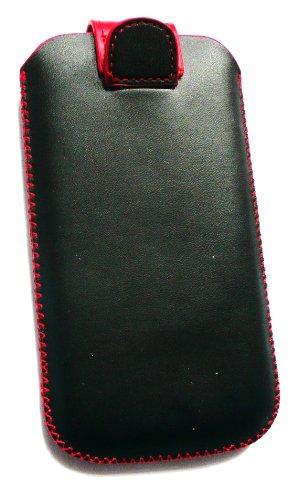 Emartbuy® Samsung Galaxy Core I8260 / I8262 Negro / Rojo Pu Superior De Cuero Slide En La Bolsa / Caja / Manga / Titular (Tamaño 3Xl) Con Mecanismo Ficha De Extracción Y Protector De Pantalla