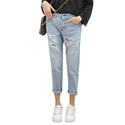 Con Mujer Cintura Pantalones Bolsillos Elásticos De Casual Hellblau Vintage Botones Lápiz Alta Vaqueros Mezclilla Adelina Ripped Ropa Denim 4qUOx
