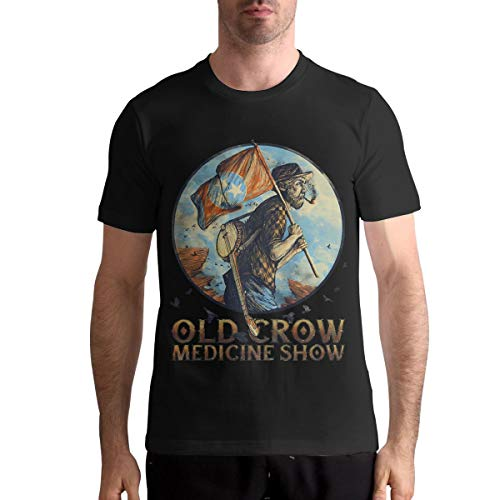 AngeloCaroline Old Crow Medicine Show Men Casual T Shirt Cotton Short Sleeve Tops XXL Black (Old Crow Medicine Show Wagon Wheel T Shirt)