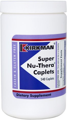 - Kirkman Super Nu-Thera || 540 Caplets || Provides high vitamin B-6/magnesium and vitamins. || Multi vitamin || Free of common allergens || Gluten and Casein free