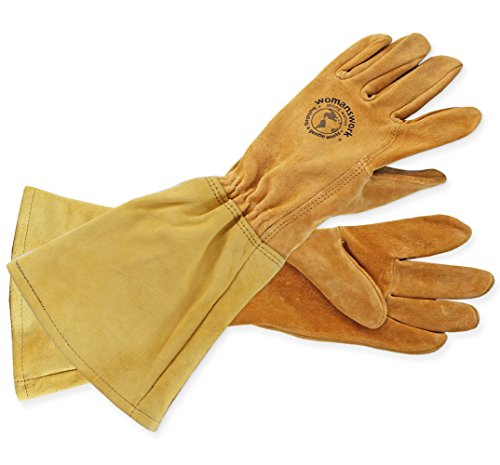 Womanswork Rose Gauntlet Leather Garden Gloves – Made in the USA Size Medium