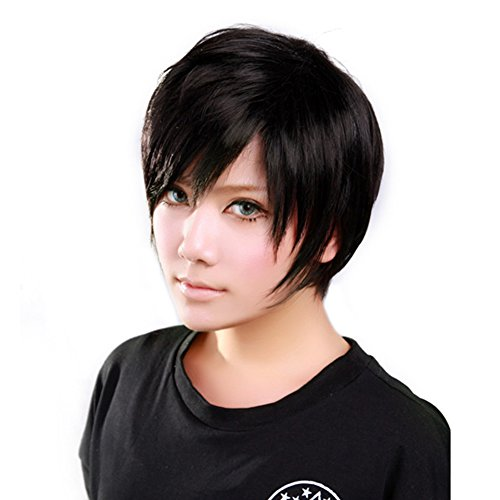 E Support Men's Fashion Cool Short Straight Cosplay Costume Hair Party Wig Light Brown