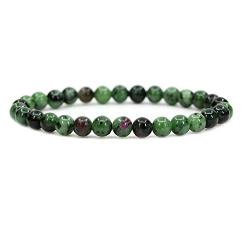 No Crystal Ruby - Amandastone Natural Ruby in Zoisite 6mm Round Beads Stretch Bracelet 7
