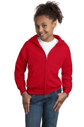 Hanes Comfortblend EcoSmart Full-Zip Kids' Hoodie Sweatshirt,Deep Red,Small