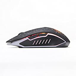 ShiRui L6 Wireless Optical Gaming Mouse Rechargeable Silent Mice with 7 Colors Breathing Lights, 6 Buttons with 2400/1600/800DPI (Black)
