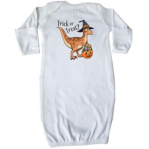 (inktastic - Trick or Treating Dinosaur Witch Costume Newborn Layette White)