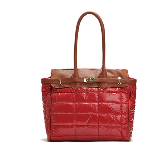 Flowertree Women's Patent Pu Leather Waterproof Quilted Tote Office Bag (red) Patent Shopper Tote