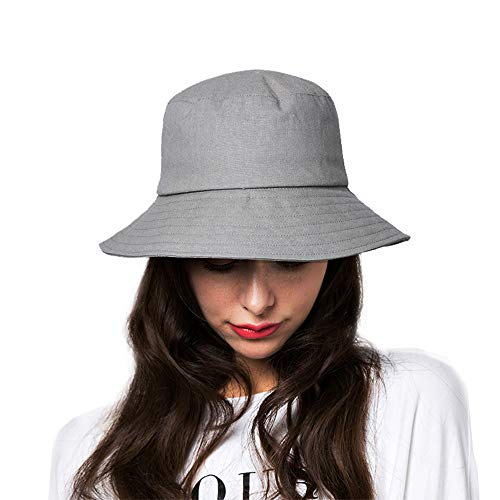 Bucket Sun Hat,Women Cotton Bucket Cap Summer Foldable Beach Hat with Wide Brim (B5-Light Gray) - Ladies Cotton Bucket Hat