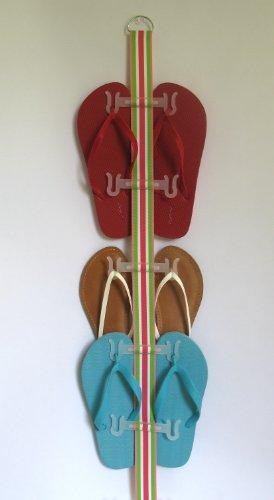 Flip Flop and Sandal Organizer (Pink Green & White Stripe #2)