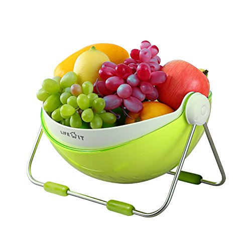 Lifewit Fruit Bowl Holder Fruit Vegetable Washing Basket Storage 360 Rotatable Lid Green