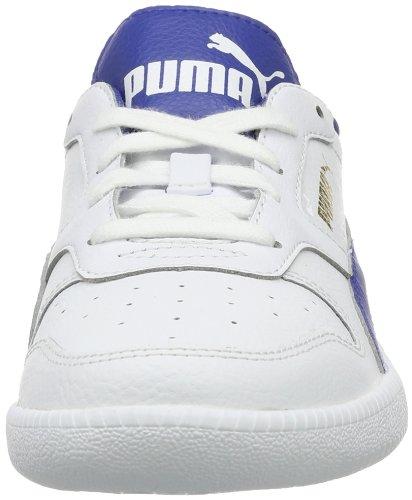 Puma Icra Trainer Jr - Caña baja de cuero infantil blanco - Weiß (white-monaco blue-team gold 02)