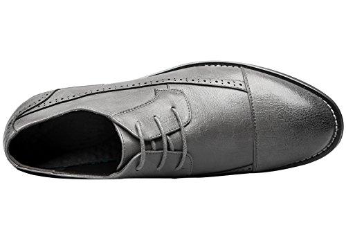 Zapatos De Hombre Santimon Brogue Moderno Clásico Encaje Hasta Formal Boda Cap-toe Oxford Vestido Zapatos Gris