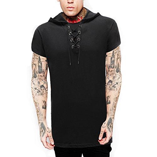 YANWENFANG Men Fashion T-Shirt Hip Hop Muscle Lace up Longline V Neck Super Hipster Curved Hem Black XL by YANWENFANG