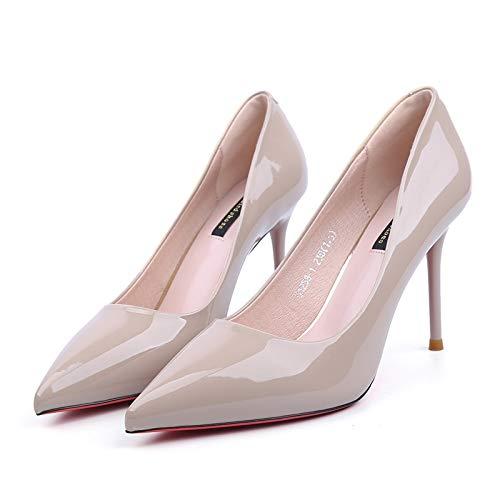 Tacones De Aguja Yukun Pequeños Desnudo Beige Estrenar Femenino Charol Zapatos De Cuero 39 Bajo alto de Color Dark De Princesa tacón Rojo De A zapatos 9Cm qCYqX