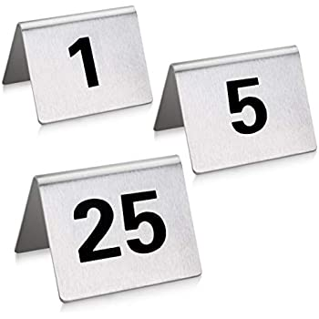 New Star Foodservice 27617 Stainless Steel Tent Style Table Number Card, 1-25, 1.5