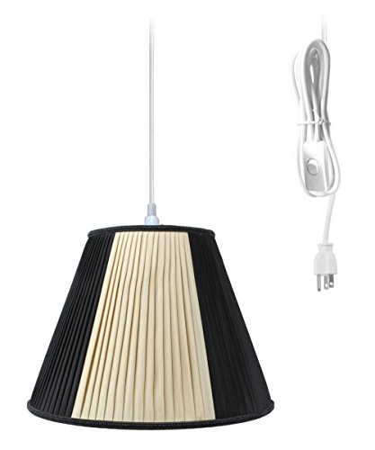 Plug-In Pendant Light By Home Concept - Hanging Swag Lamp Beige/Black Shade - Perfect for apartments, dorms, no wiring needed (Beige/Black, White One-light) Brass Pleat Shade Plug