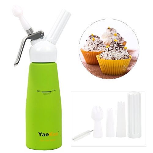 YAEKOO Whipped Cream Dispenser 1/2 Liter 1 Pint Canister Whipper Durable,Aluminum Body with White Composite Head – includes 3 Decorating Tips &1 Cleaning Brush – Half - Gift Box Packaging