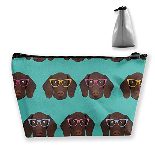 (German Shorthaired Pointer In Glasses Storage Bag Pouch Portable Gift for Girls Women Large Capacity Cosmetic Train Case for Makeup Brushes Jewelry Casual Travel Bag)
