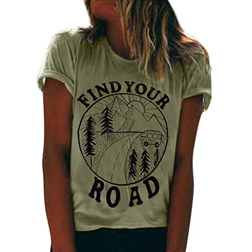TWGONE Tee Shirts Women Graphic Find Your Road Summer Short Sleeve O-Neck Print Tops Blouse(Green,XX-Large)