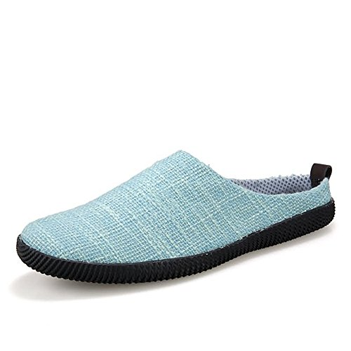 Meimei Plano sólido Color los De Sky talón Lona 42 shoes Blue Hombres EU Superior Deslizamiento tamaño Zapatos Color en holgazán Mocasines Casuales raBA0rq7n