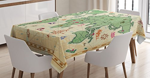 Ambesonne Wanderlust Decor Tablecloth, Retro Syle Map Of The World With  Trees Volcanos And Mountains Ancient Boho Artprint, Rectangular Table Cover  For ...
